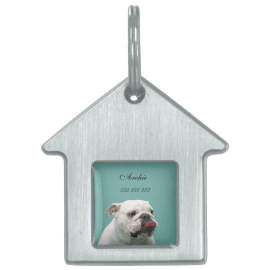 Bulldog dog custom name & phone no. pet