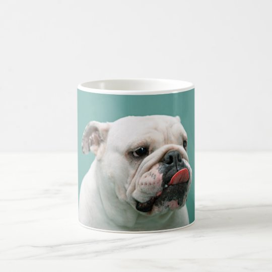 Bulldog, dog funny face sticking tongue out mug