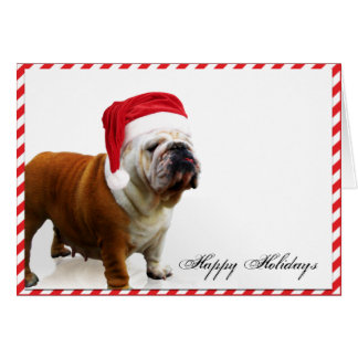 Bulldog Dog in Santa Hat Christmas Card