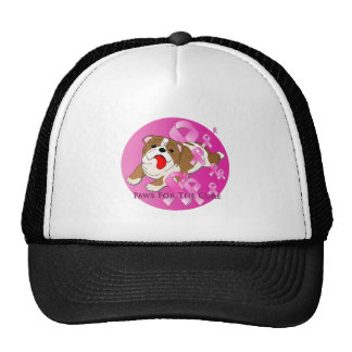 Bulldog Dog Pink Ribbon Cap