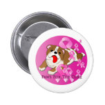 Bulldog Dog Pink Ribbon Pinback Button