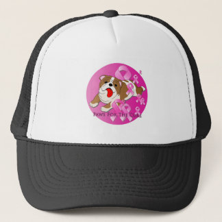 Bulldog Dog Pink Ribbon Trucker Hat