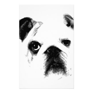 Bulldog Face. Cute Big Eyed Bulldog Personalized Stationery