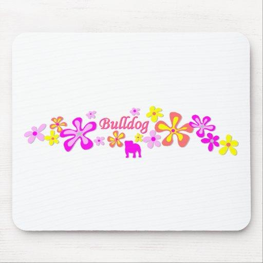 Bulldog Flowers Mouse Pad
