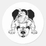 Bulldog Football Round Sticker