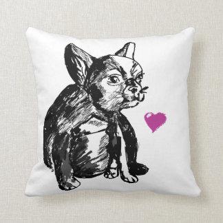 Bulldog French Buldog Drawing Throw Cushion