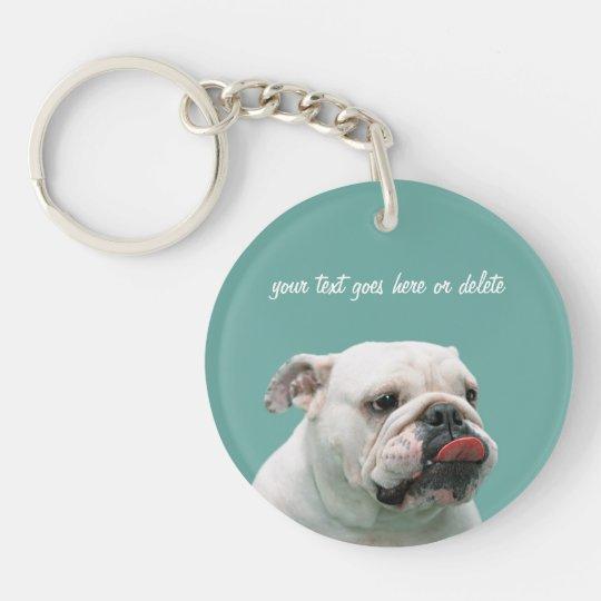Bulldog funny face with tongue custom, gift key