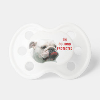 Bulldog funny face with tongue sticking out custom baby pacifier