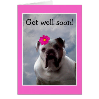 Bulldog Get Well Soon greeting card