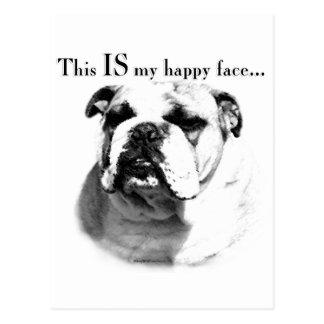 Bulldog Happy Face Post Cards