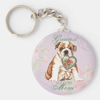 Bulldog Heart Mom Basic Round Button Key Ring