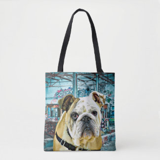 Bulldog in front of Graffiti Street Art Tote Bag