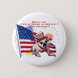 Bulldog - Independence Day Celebration 6 Cm Round Badge