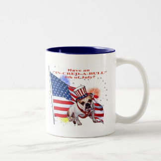 Bulldog - Independence Day Celebration Two-Tone Coffee Mug