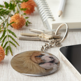 Bulldog Lion Head Key Ring