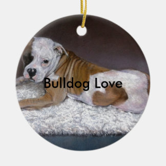 Bulldog Love. American Bulldog Painting Christmas Ornament
