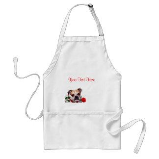Bulldog Maddie Red Rose Valentine Design Adult Apron