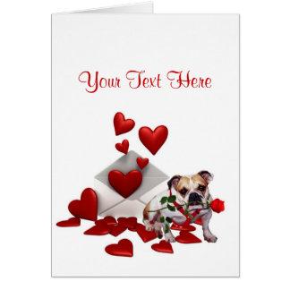 Bulldog Maddie Red Rose Valentine Design Greeting Card
