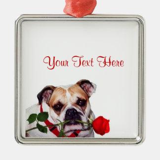 Bulldog Maddie Red Rose Valentine Design Square Metal Christmas Ornament