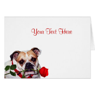 Bulldog Maddie Red Rose Valentine Design Greeting Card