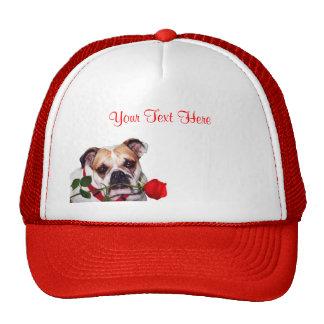Bulldog Maddie Red Rose Valentine Design Trucker Hat