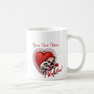 Bulldog Maddie Red Rose Valentine Design Coffee Mug