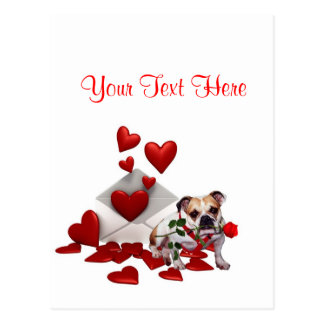 Bulldog Maddie Red Rose Valentine Design Postcard