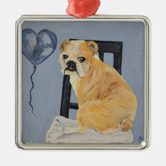 Bulldog Madeline Silver-Colored Square Decoration