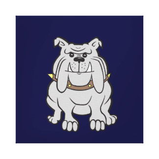 Bulldog Mascot on Blue Stretched Canvas Print