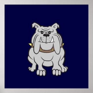 Bulldog Mascot on Blue Posters
