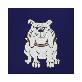 Bulldog Mascot on Blue Stretched Canvas Print