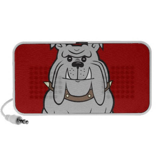 Bulldog Mascot On Red Design Style Travel Speakers