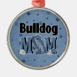 Bulldog MOM - Blue Christmas Ornament