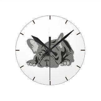 Bulldog of Lines Round Clock