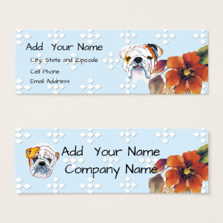 Bulldog on Blue Diamond and Autumn Flower Mini Business Card