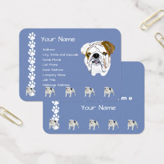 Bulldog on Country Blue with Pawprints Business Card