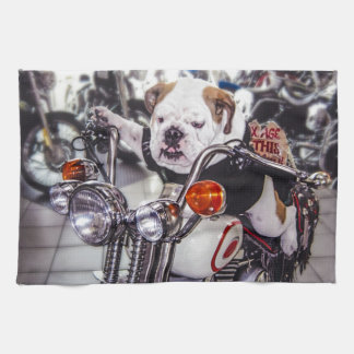 Bulldog on Motorcycle Tea Towel