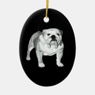 Bulldog Painting Ceramic Oval Decoration