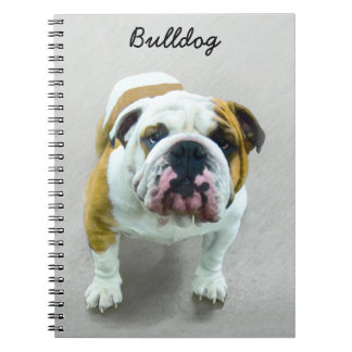 Bulldog Painting - Cute Original Dog Art Notebook