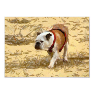 Bulldog painting 13 cm x 18 cm invitation card