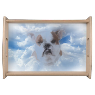 Bulldog Pet with Heaven Clouds Serving Tray