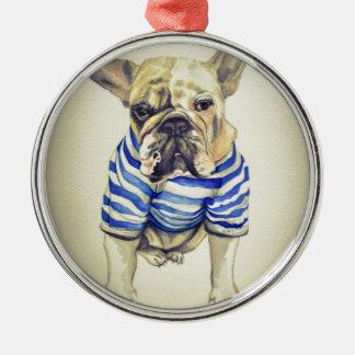 Bulldog Portrait in Purple Haze Silver-Colored Round Decoration