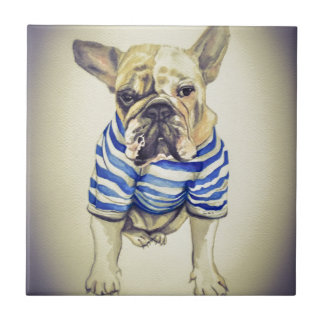 Bulldog Portrait in Purple Haze Small Square Tile