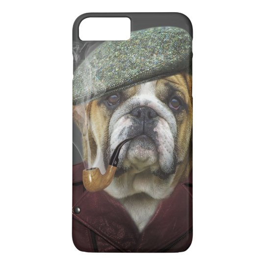 Bulldog portrait smoking a pipe iPhone 8 plus/7 plus case