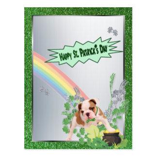 Bulldog Pup Number 3 Happy St Pattys Small Version Postcard
