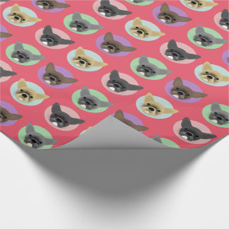 Bulldog Puppies on Pastel Circles Wrapping Paper