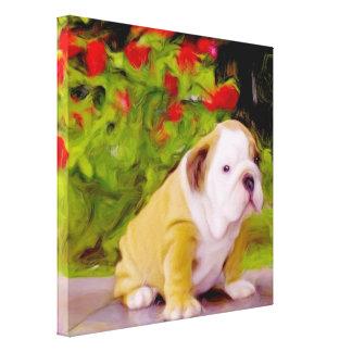 Bulldog puppy art canvas print