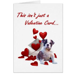Bulldog Puppy I Wuf You Valentine Greeting Card