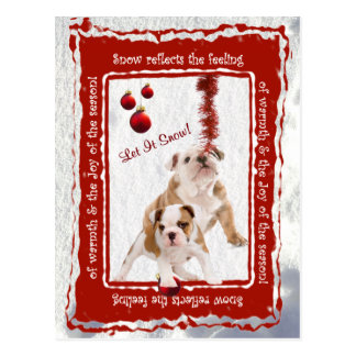 Bulldog Puppy Let It Snow 2 Greeting Postcard