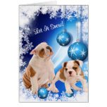 Bulldog Puppy Let It Snow Greeting - Customisable Greeting Card